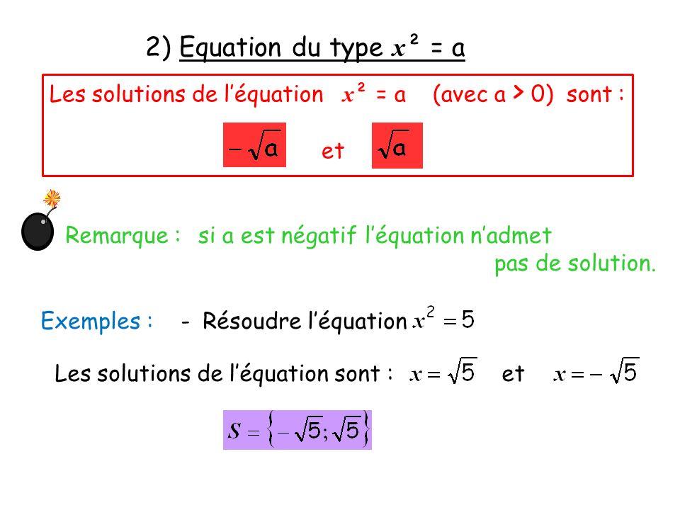 2) Equation du type x² = aLes solutions de l'équation x² = a (avec a > 0) sont : et. Remarque :