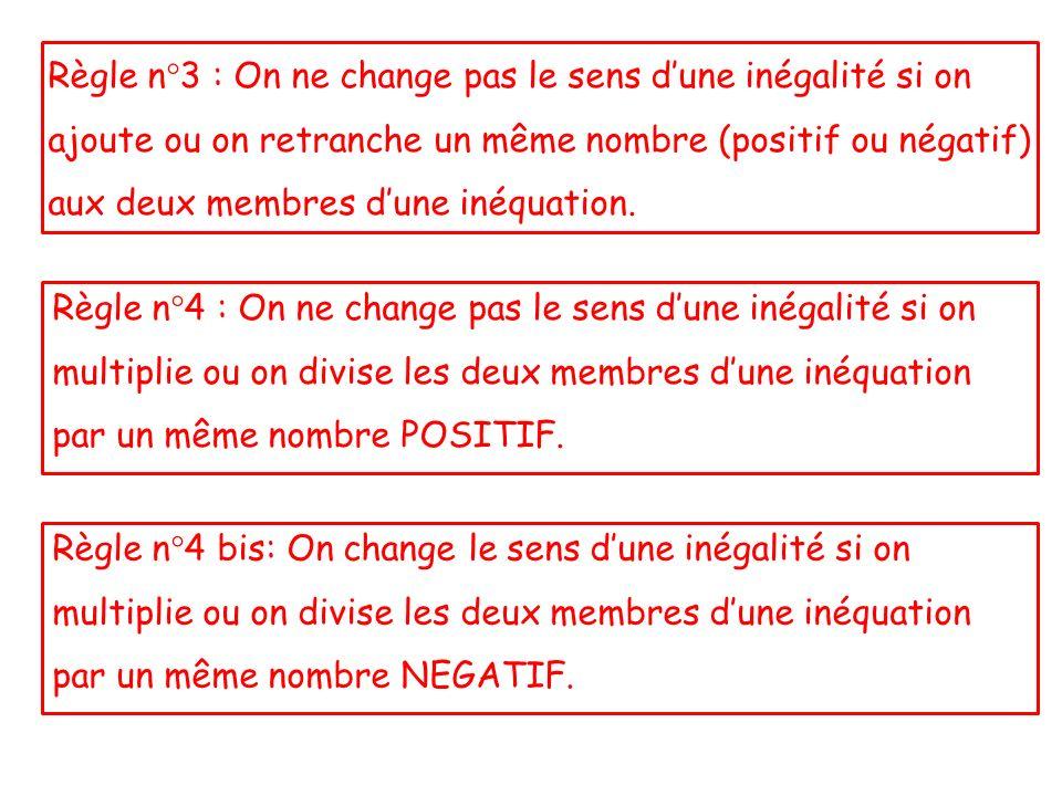 Règle n°3 : On ne change pas le sens d'une inégalité si on