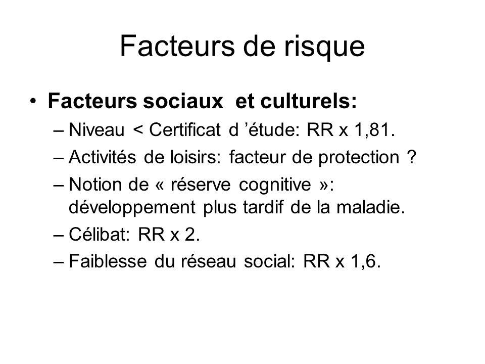 Facteurs de risque Facteurs sociaux et culturels: