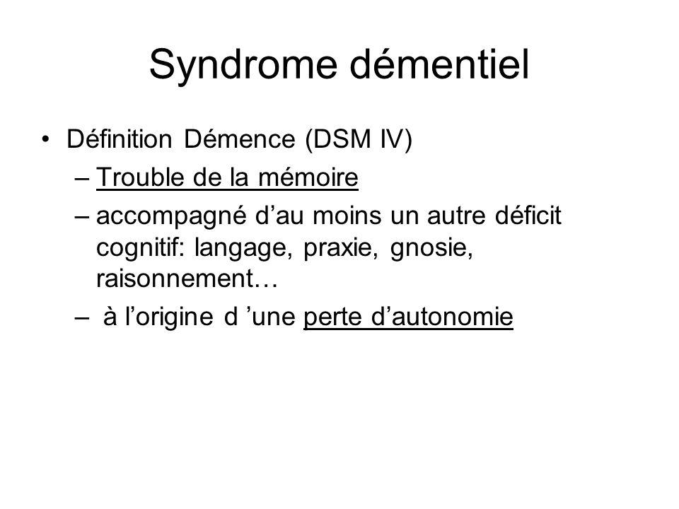 Syndrome démentiel Définition Démence (DSM IV) Trouble de la mémoire
