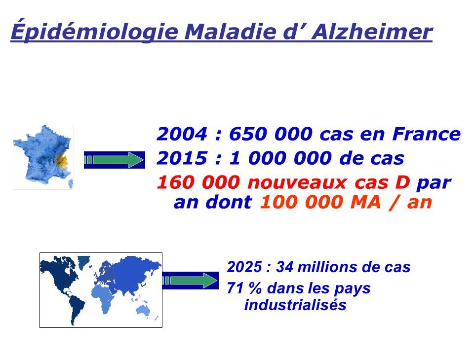Épidémiologie Maladie d' Alzheimer