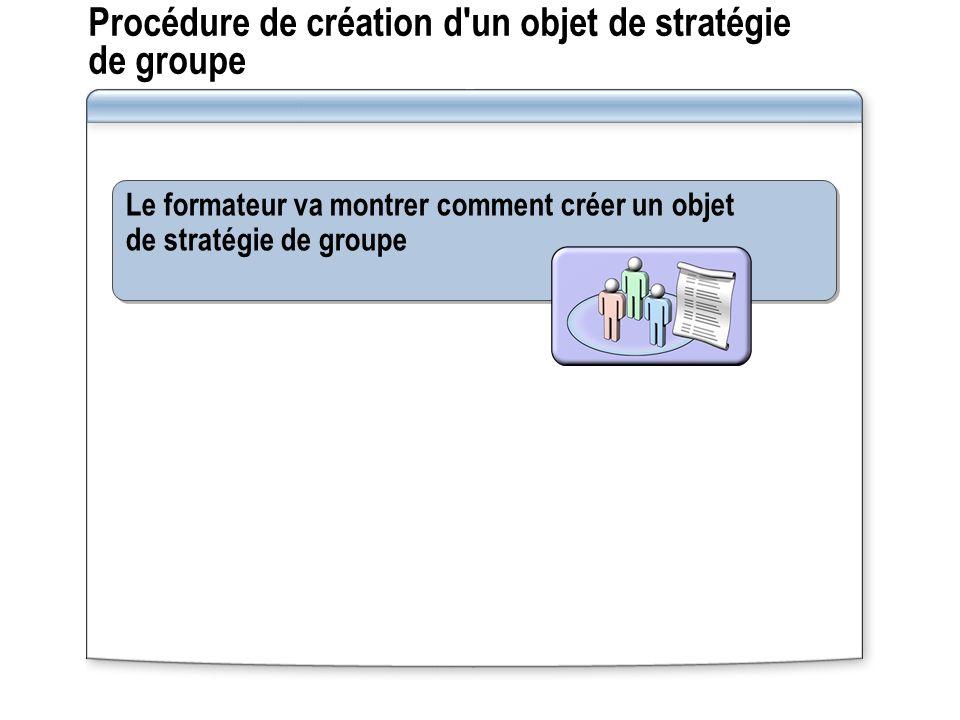 Procédure de création d un objet de stratégie de groupe