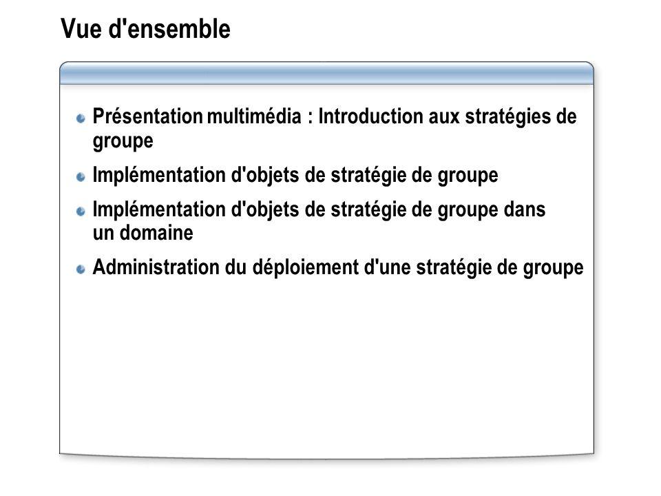 Vue d ensemble Présentation multimédia : Introduction aux stratégies de groupe. Implémentation d objets de stratégie de groupe.