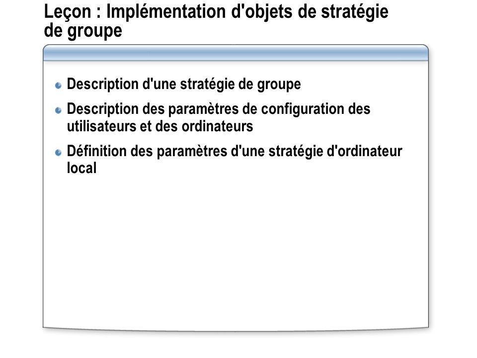 Leçon : Implémentation d objets de stratégie de groupe