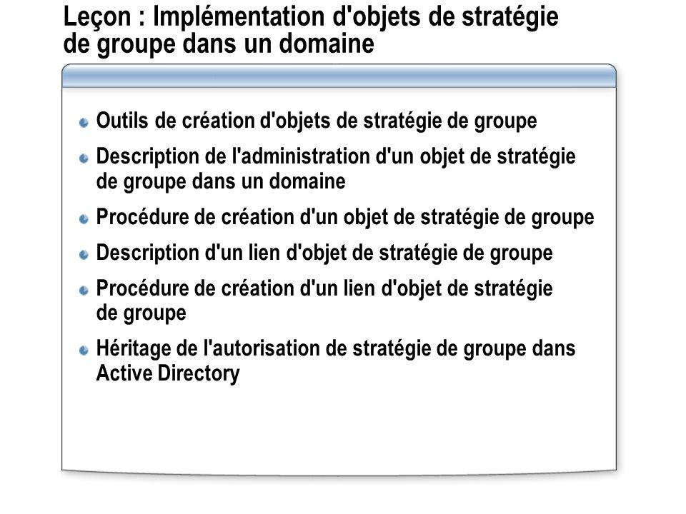 Leçon : Implémentation d objets de stratégie de groupe dans un domaine