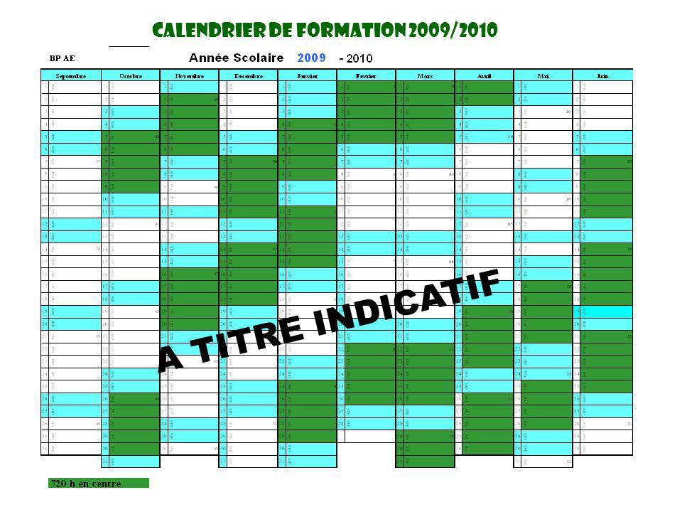 CaLendrier DE FORMATION 2009/2010