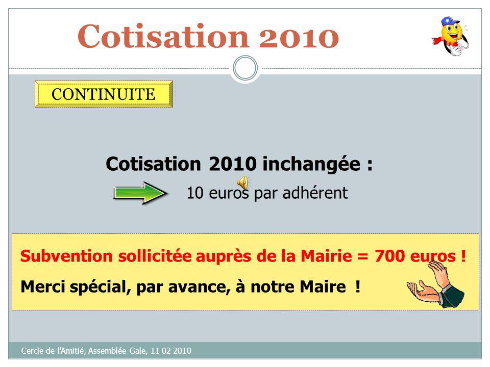 Cotisation 2010 Cotisation 2010 inchangée : CONTINUITE