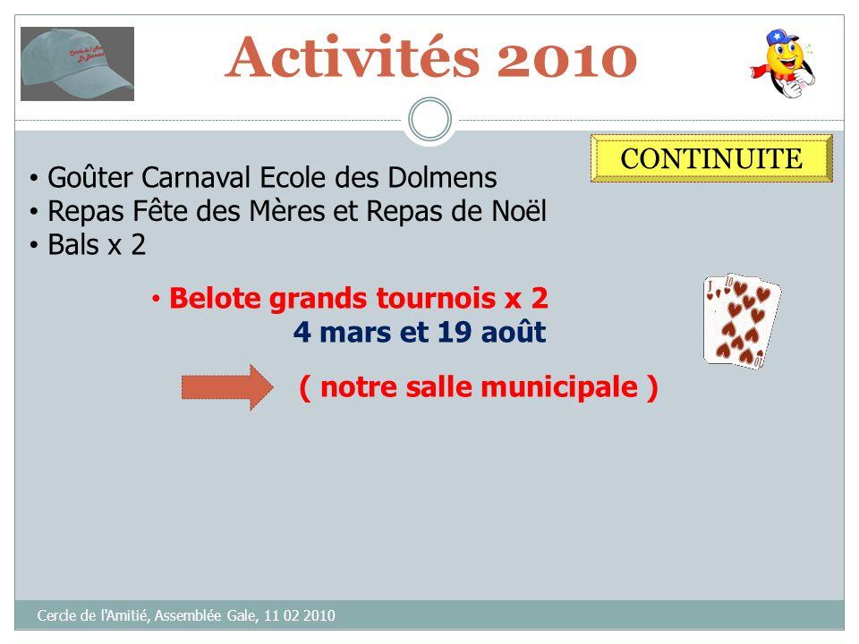 Activités 2010 CONTINUITE Goûter Carnaval Ecole des Dolmens