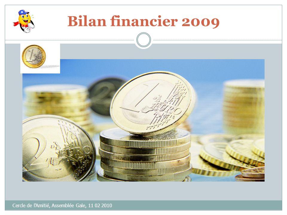 Bilan financier 2009 Cercle de l Amitié, Assemblée Gale, 11 02 2010