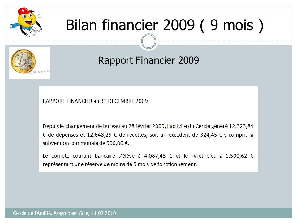 Bilan financier 2009 ( 9 mois )