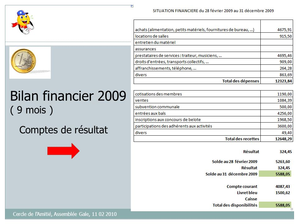 Bilan financier 2009 ( 9 mois ) Comptes de résultat
