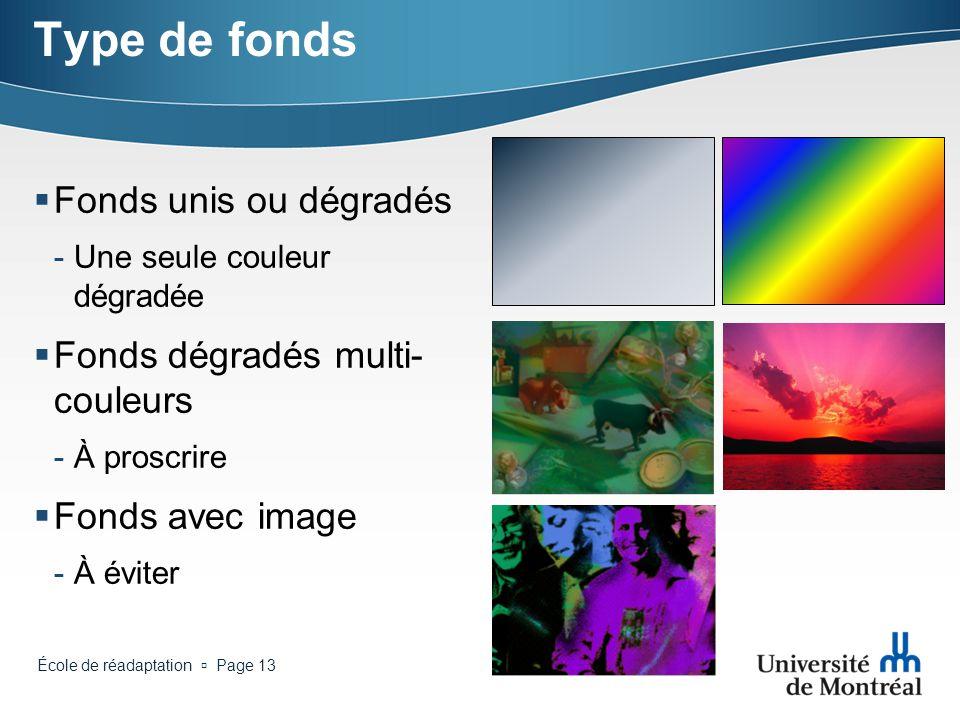 Type de fonds Fonds unis ou dégradés Fonds dégradés multi-couleurs