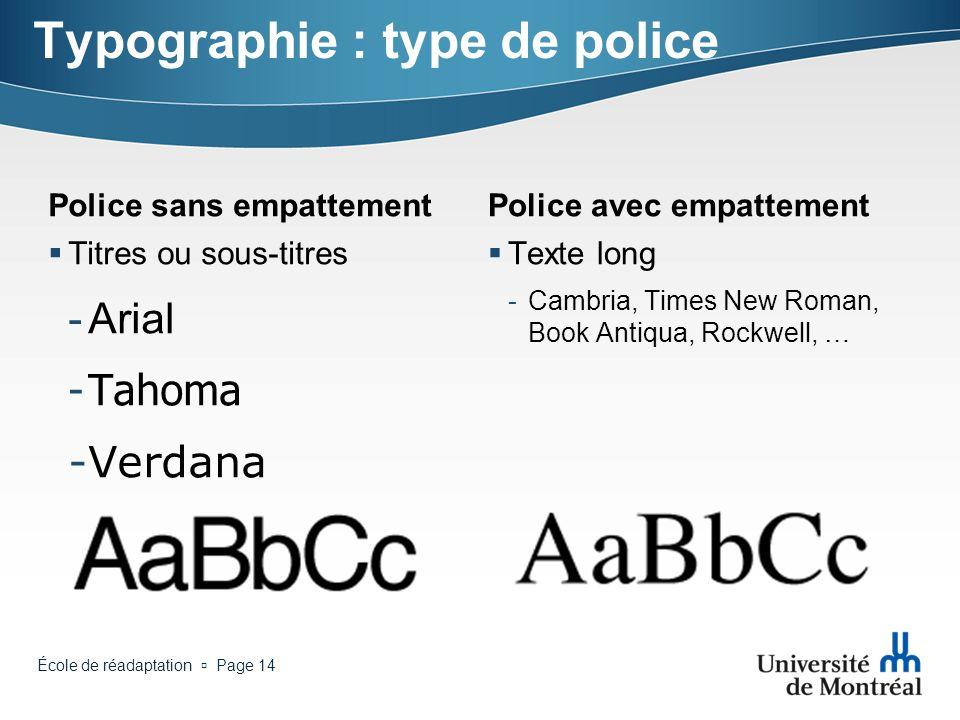 Typographie : type de police