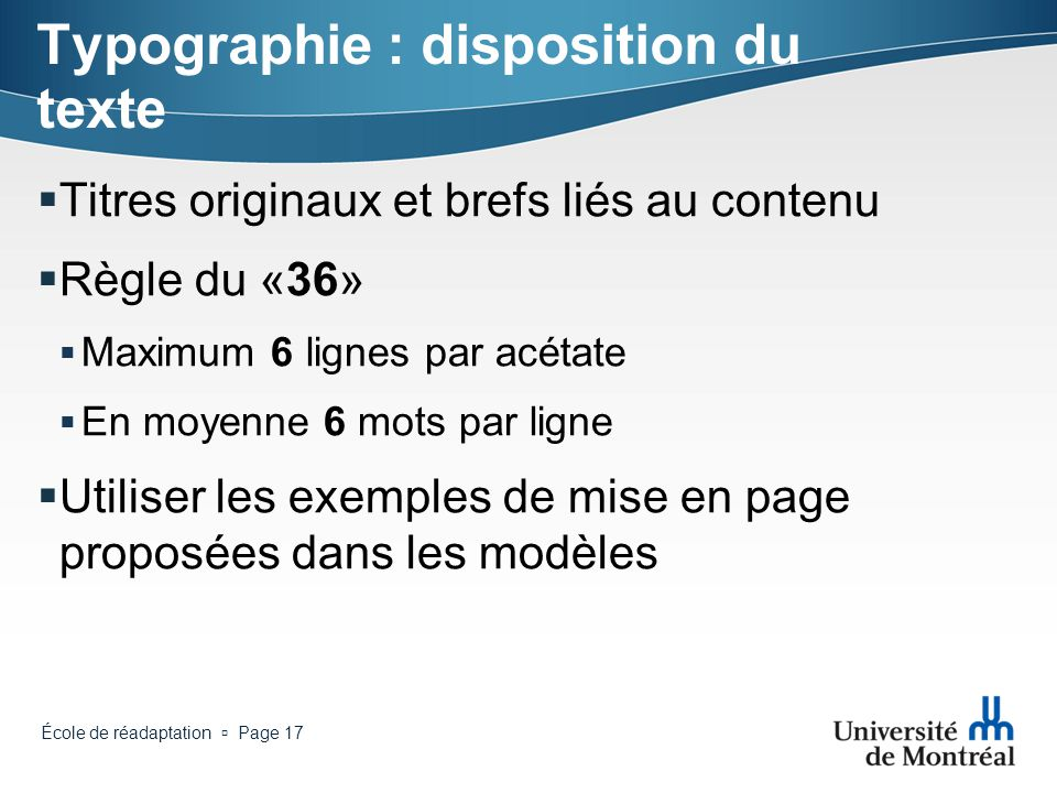 Typographie : disposition du texte