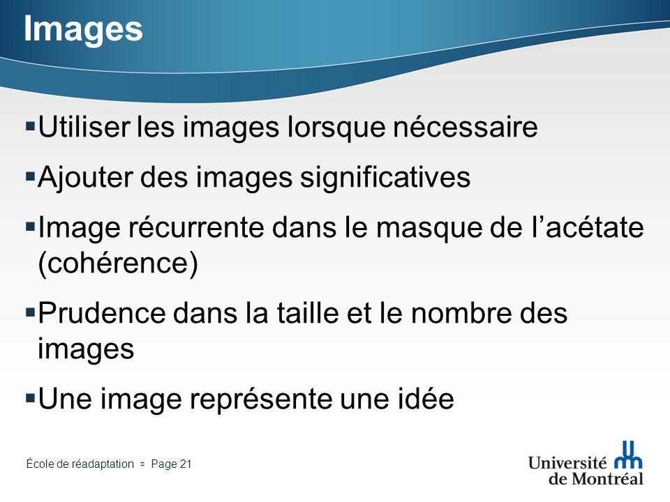 Images Utiliser les images lorsque nécessaire