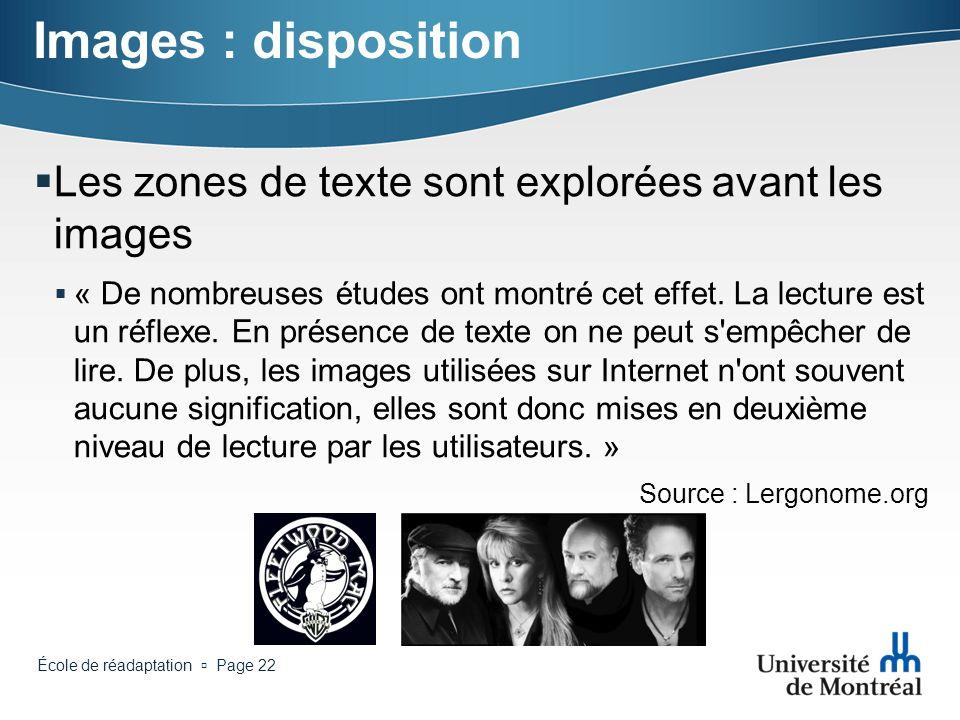 Images : disposition Les zones de texte sont explorées avant les images.