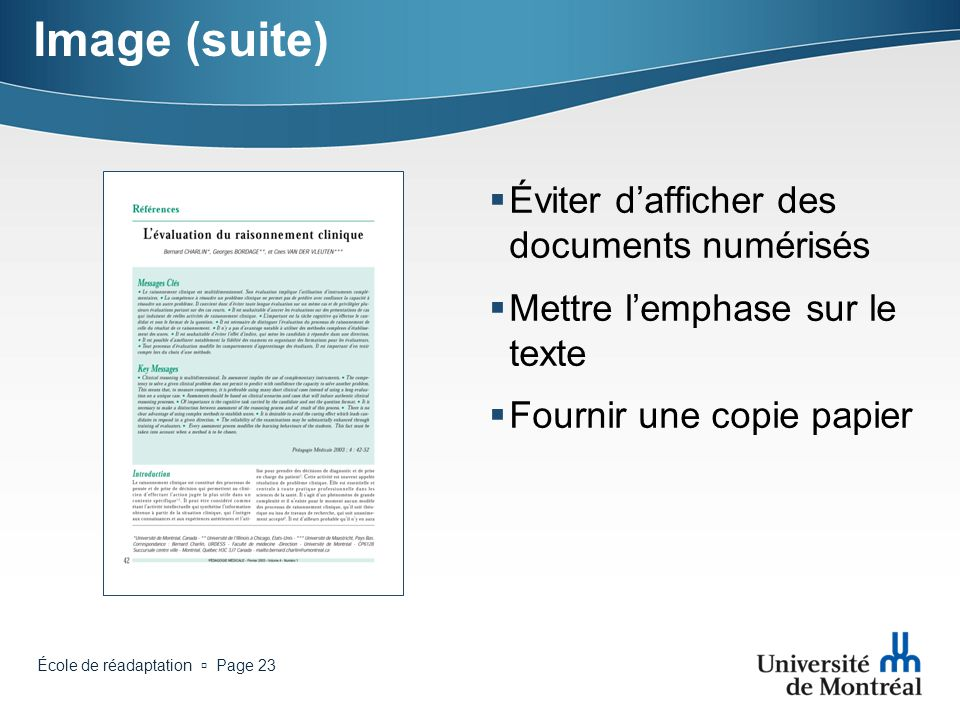 Image (suite) Éviter d'afficher des documents numérisés