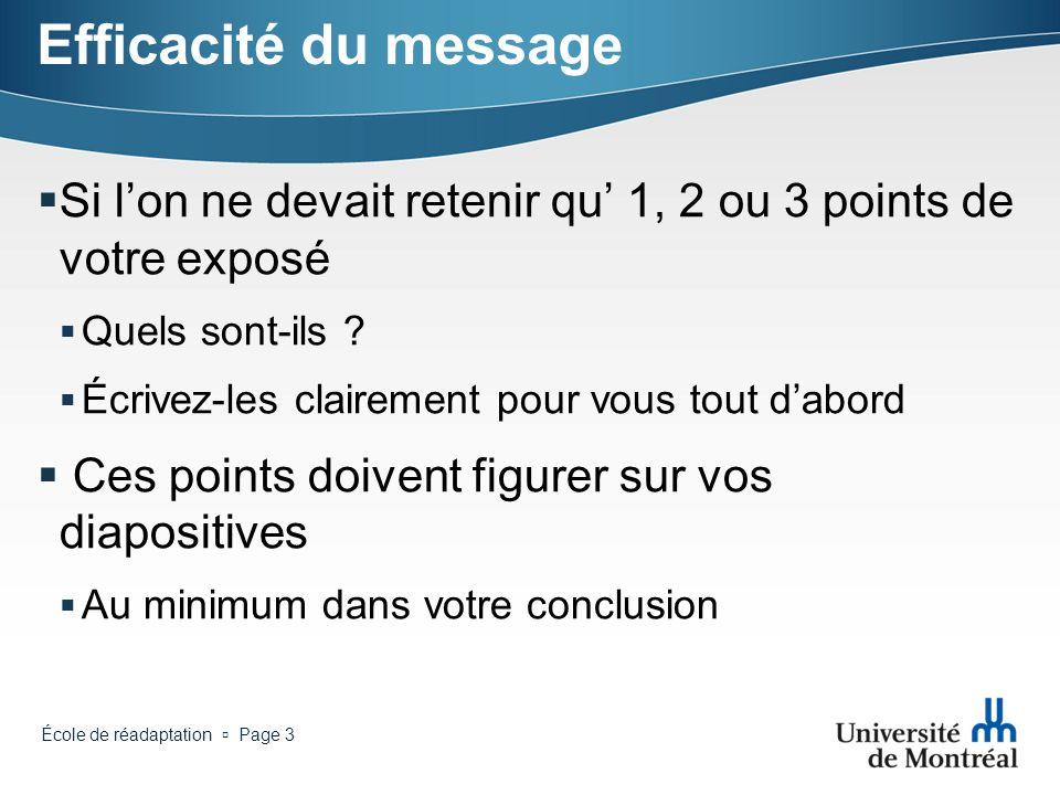 Efficacité du message Si l'on ne devait retenir qu' 1, 2 ou 3 points de votre exposé. Quels sont-ils