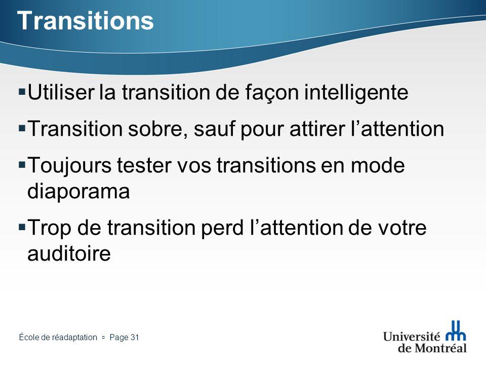 Transitions Utiliser la transition de façon intelligente