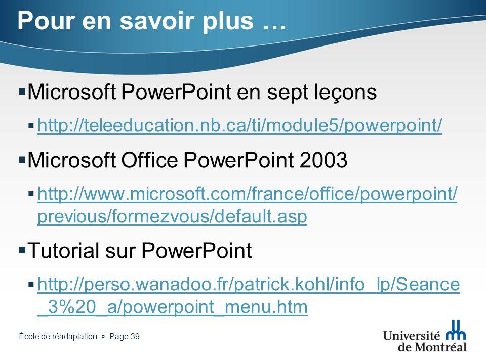 Pour en savoir plus … Microsoft PowerPoint en sept leçons