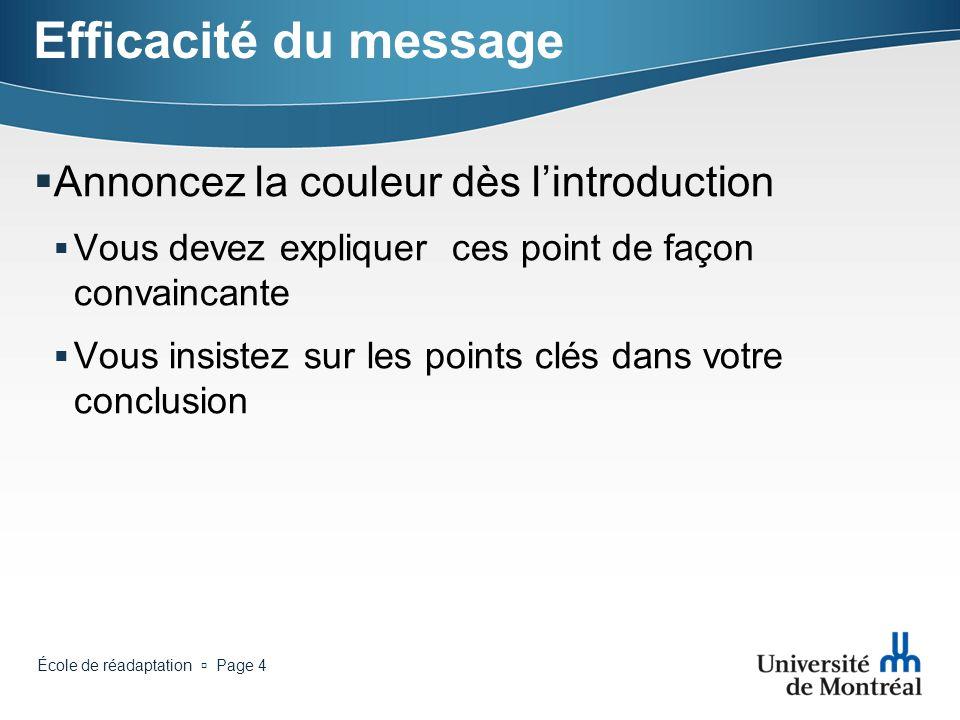 Efficacité du message Annoncez la couleur dès l'introduction