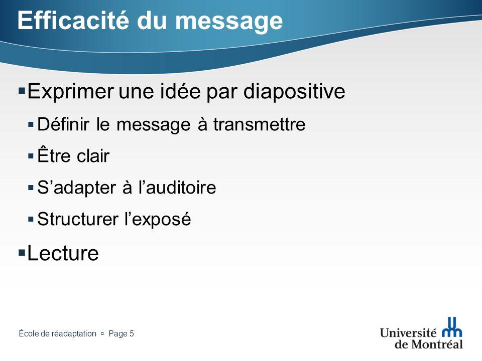 Efficacité du message Exprimer une idée par diapositive Lecture