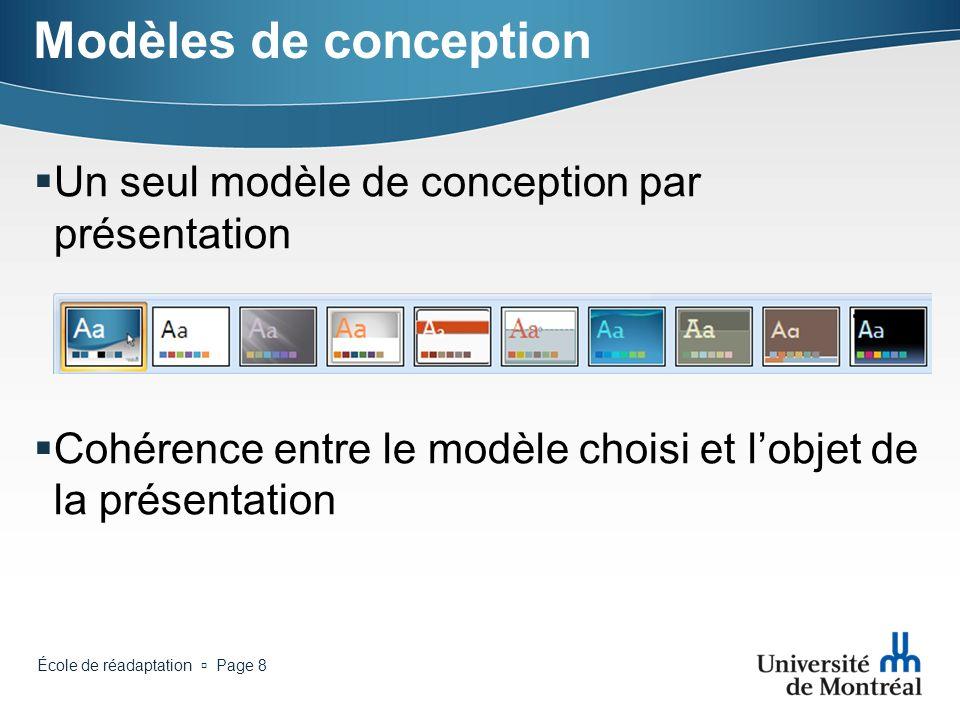 Modèles de conception Un seul modèle de conception par présentation