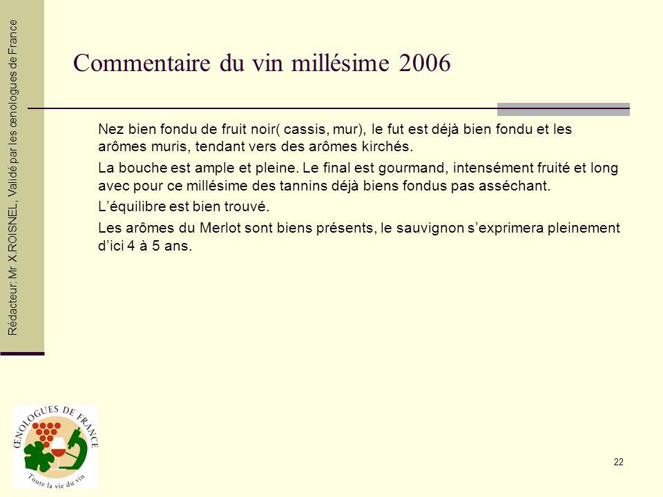 Commentaire du vin millésime 2006