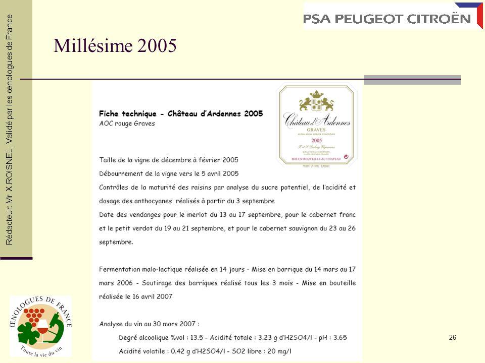 Millésime 2005 Rédacteur: Mr X.ROISNEL , Validé par les œnologues de France