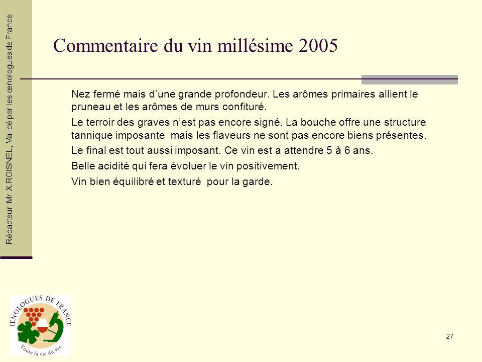 Commentaire du vin millésime 2005