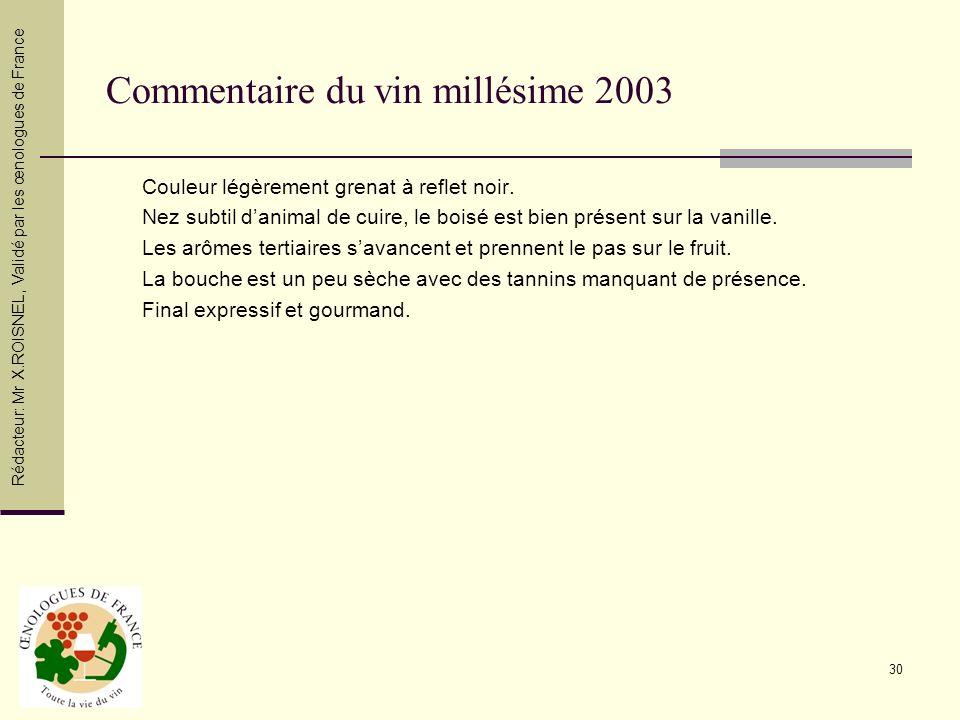 Commentaire du vin millésime 2003