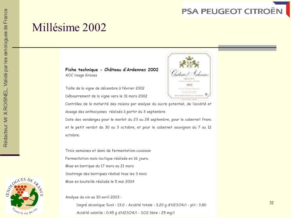 Millésime 2002 Rédacteur: Mr X.ROISNEL , Validé par les œnologues de France