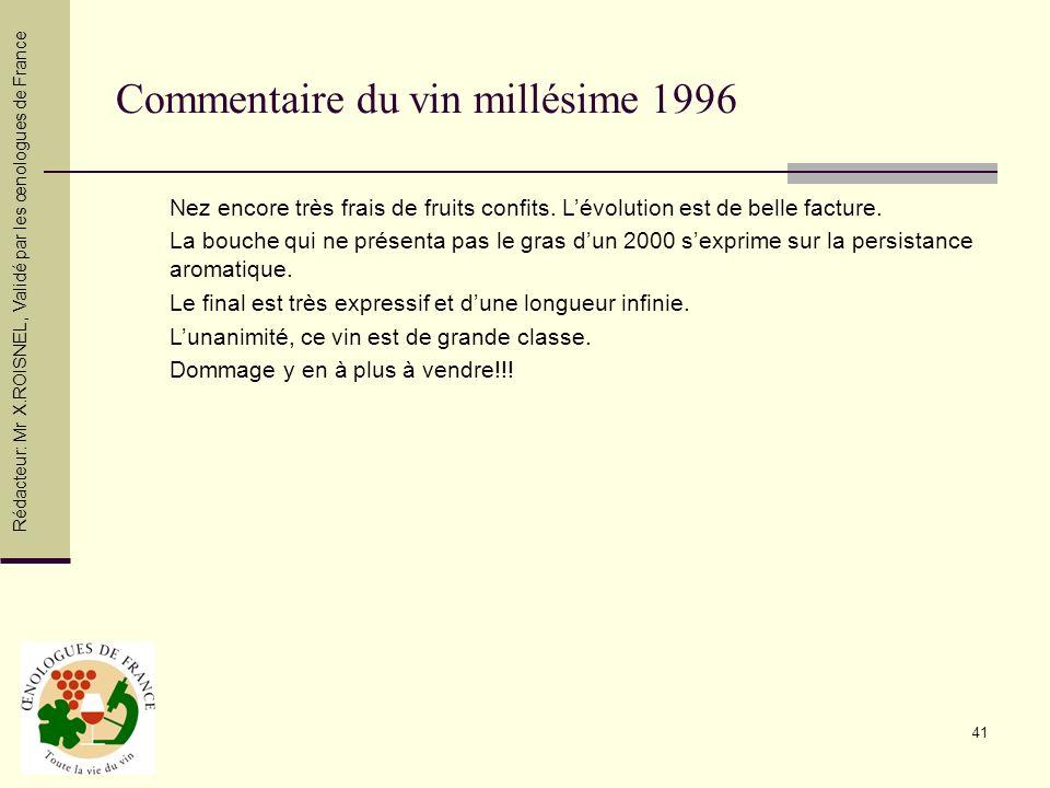 Commentaire du vin millésime 1996