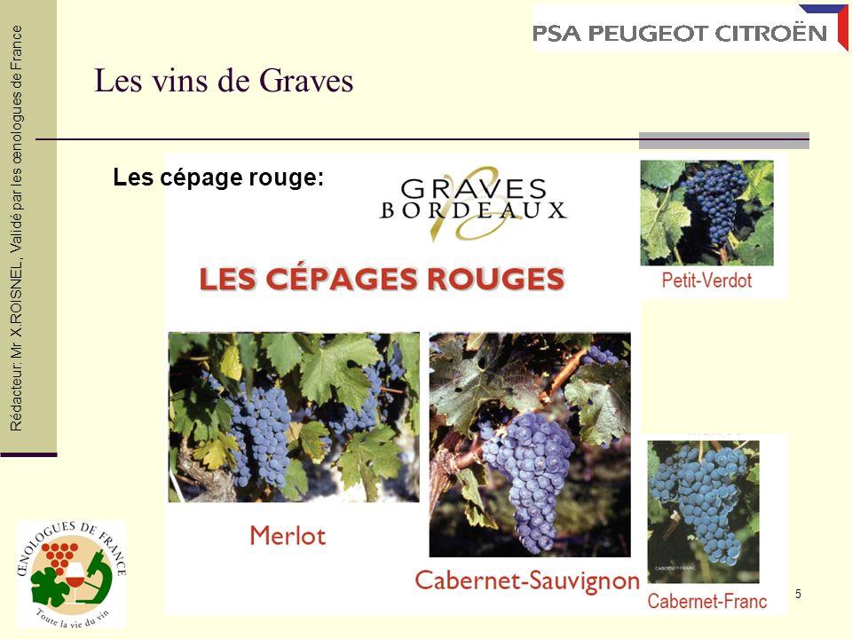Les vins de Graves Les cépage rouge: