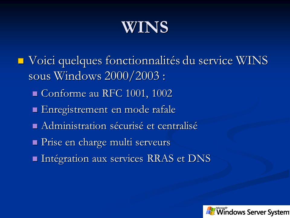 WINS Voici quelques fonctionnalités du service WINS sous Windows 2000/2003 : Conforme au RFC 1001, 1002.