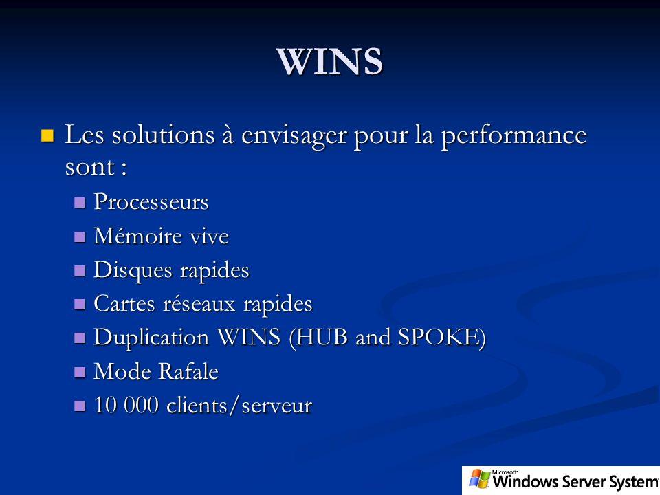 WINS Les solutions à envisager pour la performance sont : Processeurs