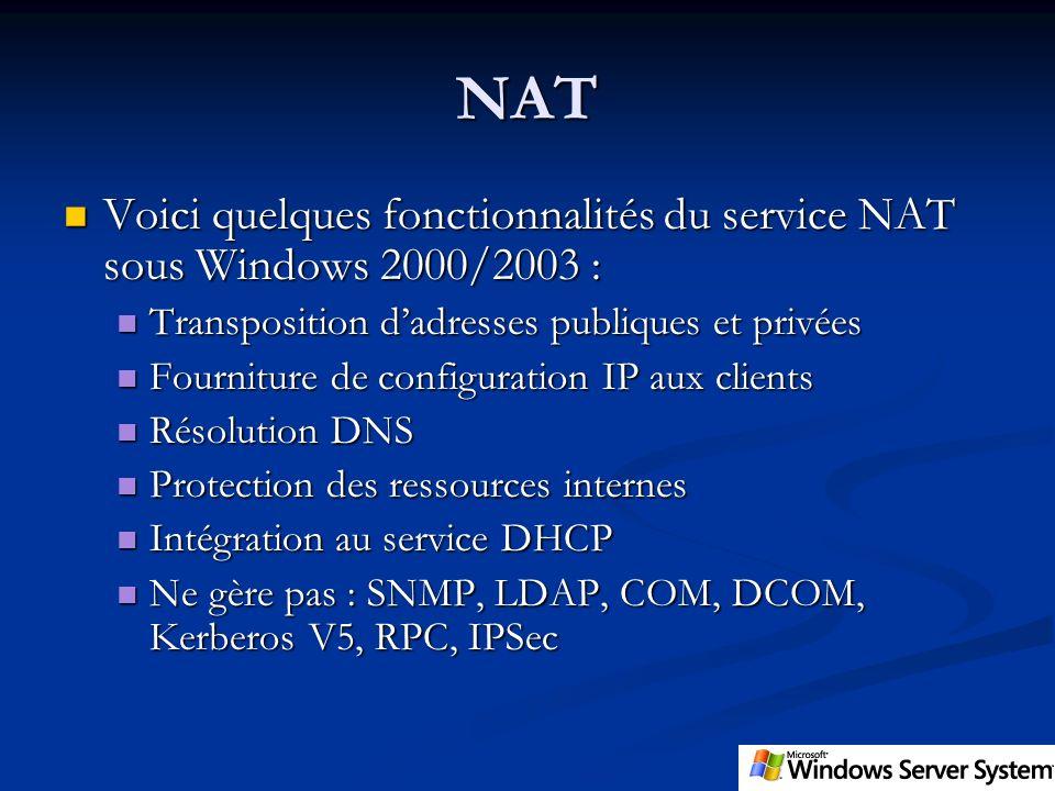 NAT Voici quelques fonctionnalités du service NAT sous Windows 2000/2003 : Transposition d'adresses publiques et privées.