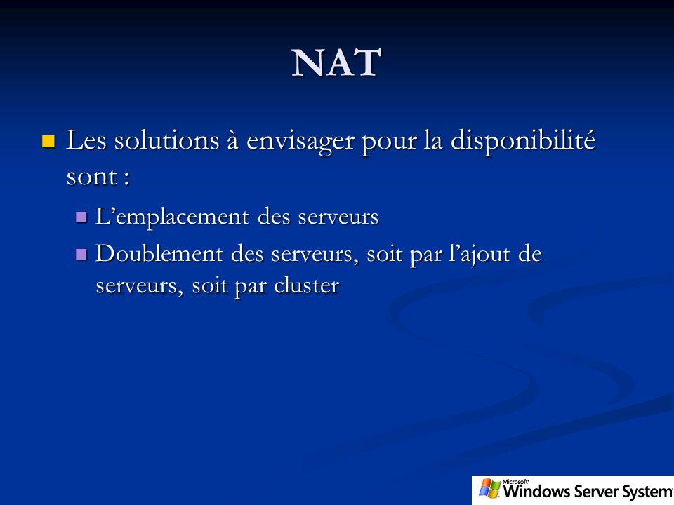NAT Les solutions à envisager pour la disponibilité sont :
