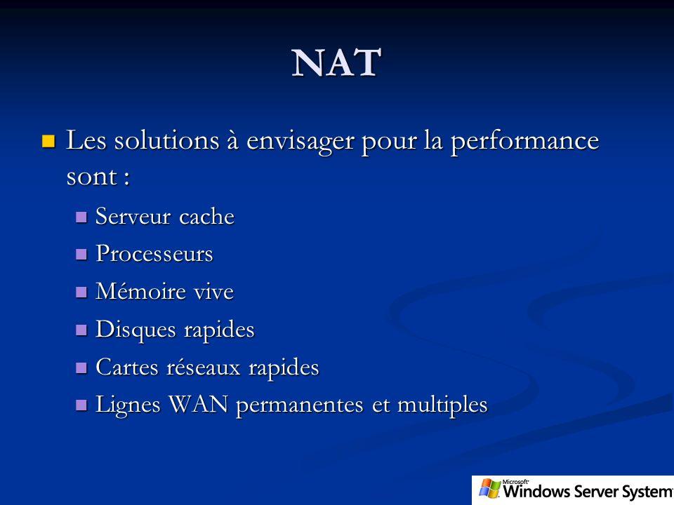 NAT Les solutions à envisager pour la performance sont : Serveur cache