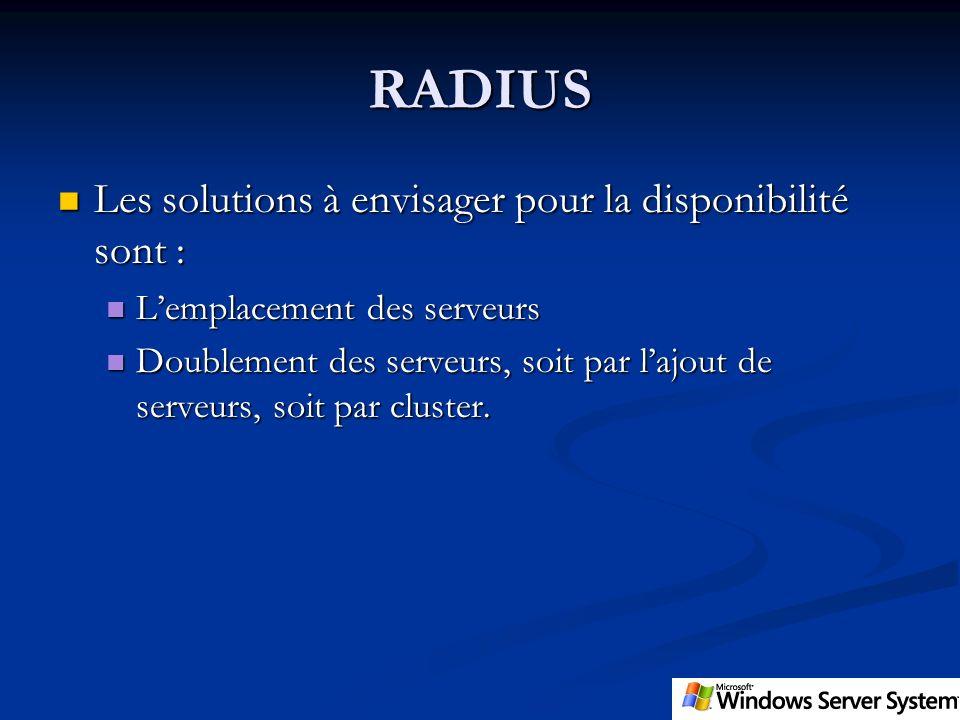RADIUS Les solutions à envisager pour la disponibilité sont :