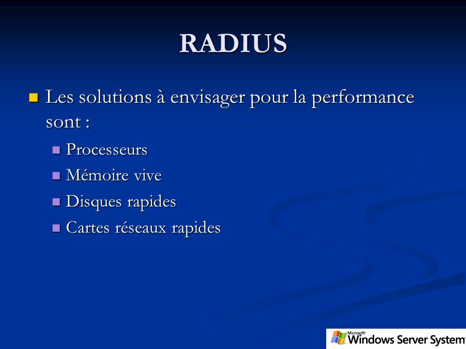 RADIUS Les solutions à envisager pour la performance sont :