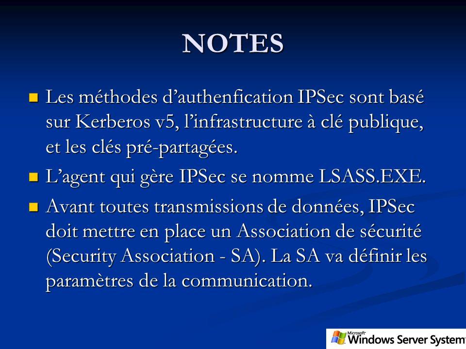 NOTES Les méthodes d'authenfication IPSec sont basé sur Kerberos v5, l'infrastructure à clé publique, et les clés pré-partagées.