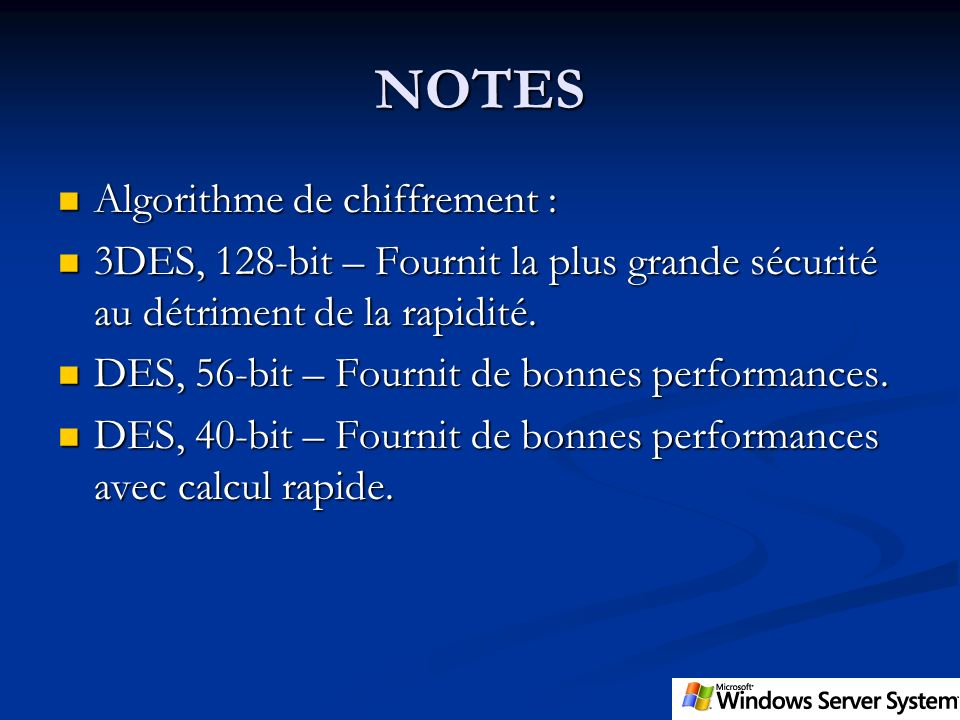 NOTES Algorithme de chiffrement :
