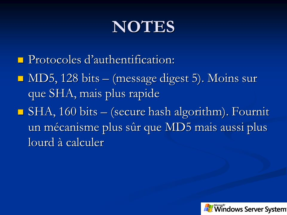 NOTES Protocoles d'authentification: