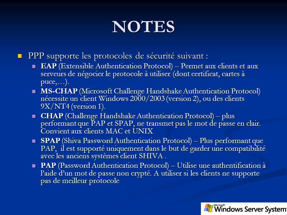 NOTES PPP supporte les protocoles de sécurité suivant :