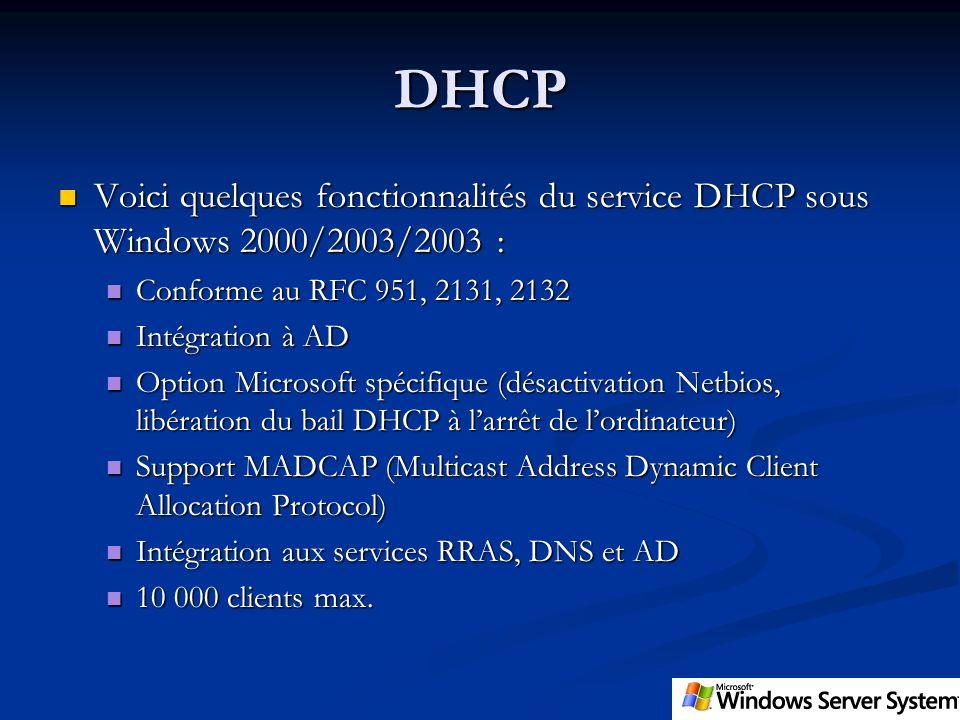 DHCP Voici quelques fonctionnalités du service DHCP sous Windows 2000/2003/2003 : Conforme au RFC 951, 2131, 2132.