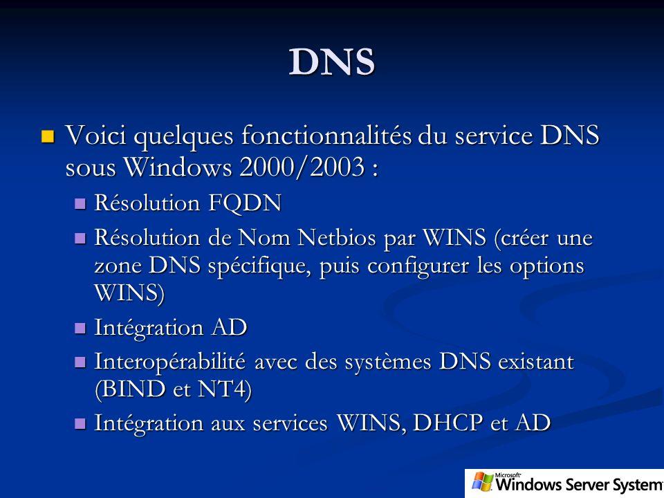 DNS Voici quelques fonctionnalités du service DNS sous Windows 2000/2003 : Résolution FQDN.