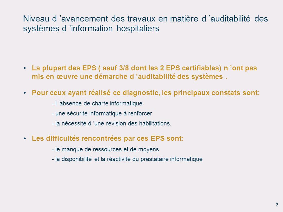 Niveau d 'avancement des travaux en matière d 'auditabilité des systèmes d 'information hospitaliers