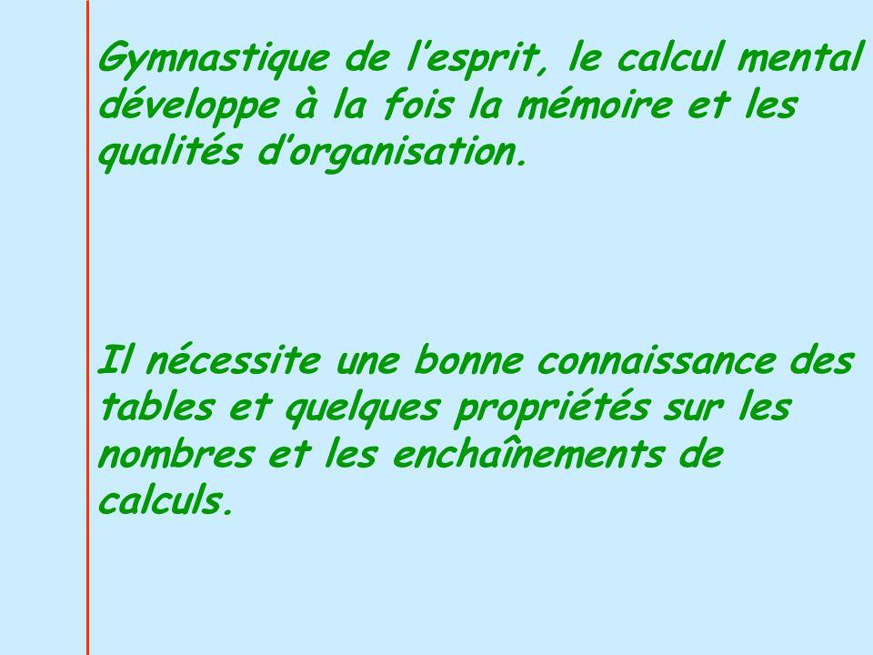 Gymnastique de l'esprit, le calcul mental développe à la fois la mémoire et les qualités d'organisation.