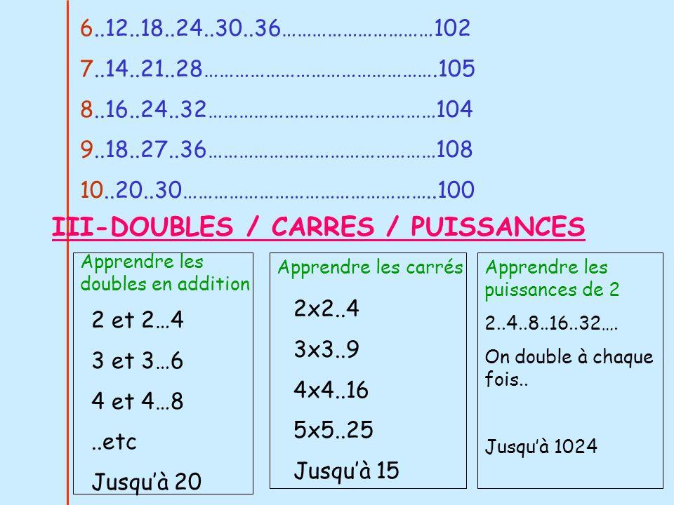 III-DOUBLES / CARRES / PUISSANCES